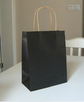 Paper Hand Length Handle Kraft Paper Free shipping Size 27*21*11cm kraft paper bag colour of black recyclable shopping bag with handles clothes bags 10 pcs lot