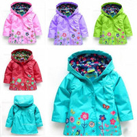 Girl coat - spring amp autumn New Arrival girls beautiful flowers windbreaker jacket export high quality Childern s outerwear amp coat