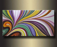 One Panel Oil Painting Abstract MODERN ABSTRACT LARGE WALL DECORATE CANVAS ART OIL PAINTING 24x48""