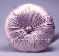 Wholesale luxury Faux silk fabric rose decoration on the middle reversible pumpkin cushion with fillin Freeshipping Min Order