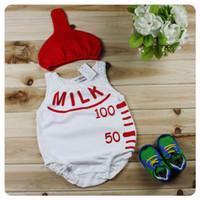 Unisex Summer 100% Cotton Baby Bodysuits Feeding Bottle White Jumpsuit And Red Hats Summer Sleeveless Bodysuits6-24M