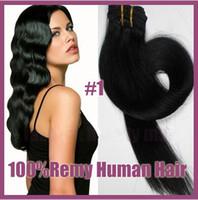 Wholesale g set quot quot quot quot clip in hair extensions Indian Remy human hair jet black