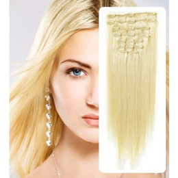 "HOT!!! 5A 10pcs set 160g set 18""-26"" #60 platinum blonde real human hair brazilian hair clips in extensions real straight full head dhl free"