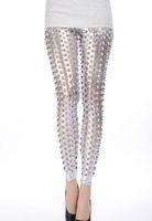 Leggings Skinny,Slim Women New Silver Punk Fish Scale Pierced Holes Fashion leggings LC79312 for women girl 2014 new spring