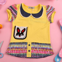 Wholesale High quality cotton Year infant supplies girls short sleeve T shirt European and American style waves point doll collar