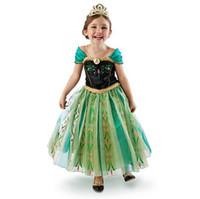 TuTu Summer A-Line 2014 Summer Frozen Princess Dress Elsa Anna Girl's Costume dresses Party cosplay Dress 100-140cm