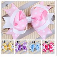 Wholesale baby dot hair bows inch chevron hair bows with clip Girl boutique hair clips hair accessories drop shipping