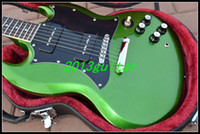 Solid Body 6 Strings Mahogany 2014 Wholesale OEM China Guitar, New Arrival Green Silver burst SG Electric Guitar Free shipping, one-piece neck (No Scarf)