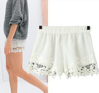 Wholesale 2014summer women crochet lace details shorts elastic waist vintage boho beach sport hot pants european streetwear short trousers