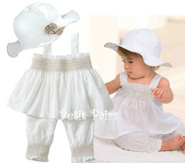Wholesale Hot sell New style childrens clothing set girl s suspenders shirt trousers hat suit set