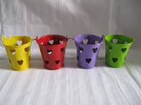 pails - Metal Favor Pail tin pots box Small Bucket mini small pot wedding candy holders with heart sharp style