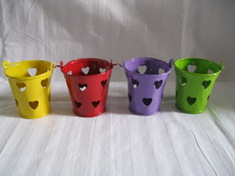 Wholesale Metal Favor Pail tin pots box Small Bucket mini small pot wedding candy holders with heart sharp style