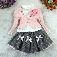 Wholesale Hot Sale New3pcs Christmas And New Year Kids fashion Clothing Set Girl Outfit And T Shirt And TUTU Skirts Flower Girl Dresses pink red whgmy