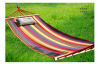 Nylon   Single Thickening Camping Canvas Hammock Outdoor And Indoor Swing With Stick And Storage Bag