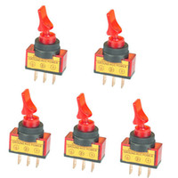 Wholesale FAVOR New V Red LED Light Toggle Switch SPST ON OFF Control