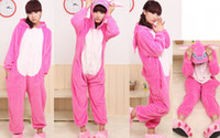 Wholesale Cute Animal Sleepwear Pink Stitch Pajamas For Couples Adult Unisex Flannel Onesies Low Price