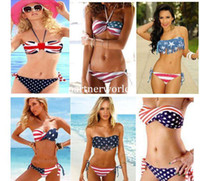 Women Bikinis National Flag Wholesale - Sexy Women Summer Stars And Stripes USA Flag Bikini Padded Fringe Tassel Twised American Swimwear 4 Styles