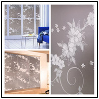 Wholesale 36 quot x ft Cling Window Film Privacy Frosted Treatments White Flowers Decorative Stained Glass Window Flim