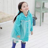 Coat Girl Spring / Autumn Frozen Fashion Baby Girls Clothes Snow Queen Elsa Blue Gauze Coat Princess Raincoat Jacket