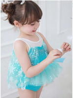 Girl One-piece 100-110-120-130-140 New Arrival 2014 Girl Frozen Swimsuit Children Blue Tulle Tutu Dress swimsuits sets Kids spa beach Swimwear Child Clothing 7147