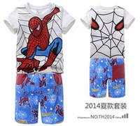 Unisex Summer Short 6 PCS Lot 2014 New Fashion Summer Children Boys Girl Baby Kids Spiderman Clothing Short Sleeve T Shirt + Short Pant 100% Cotton Set H0140676