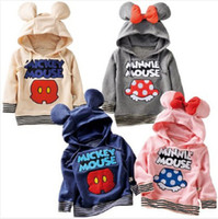 Wholesale Kids shirt Children s clothing sweater Mickey Minnie Girls Boys Hooded T shirts hoodies spring summer baby clothes thin section