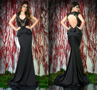 Reference Images V-Neck Satin 2014 New Arrival Sexy BlacK Backless Evening Dress Mermaid Deep V Neck Sheer Lace Satin Sweep Train Hot Selling Prom Dress Evening Gowns 70D