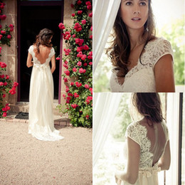 Wholesale 2014 Hot Beach Lace Wedding Dress A line V neck Simple Cap Sleeves Lace Wedding Dresses Wedding Gowns Lace Backless Bridal Gowns with Sash