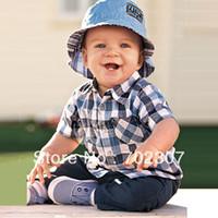 Boy Spring / Autumn Short wholesale 2013 new design Summer boy (plaid t shirt +jeans ) 2pcs clothing sets, 5sets lot BP18