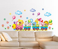 Graphic vinyl animal tattoo - small adhesive wall stickers vinyl cute animals train wall tattoos for children room cm