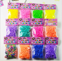 rainbow loom rubber bands - 18Colors Rainbow Loom kit late Rubber band loom Bands bracelet amazing gift for children single colors handmade DIY bands S