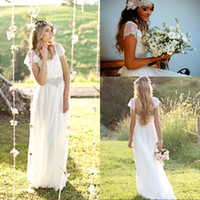 Cheap 2014 Boho vintage lace wedding dress beautiful lace capped sleeves low back sweep train lace chiffon bridal gowns custom made EM02073