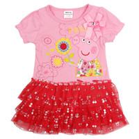 TuTu Summer A-Line Fashion New 2014 summer girl dress peppa pig clothing kids tutu lace children girl dresses baby wear flower free shipping 2-6YJB2014YC-84