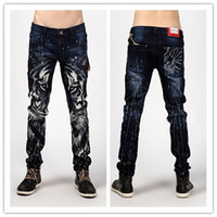 Wholesale Fashion Men Slim Jeans Personality Tiger Print Skinny Jeans Non mainstream European And American Trade Large Size Jeans