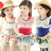 Girl Summer  China Wholesale Children Dress Girls Short Sleeve T-shirt 2014 Summer ROK Girls Cotton Lace Tops 2-6 Years Old T Shirt Tees #17361