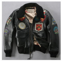 Jackets Men Real Leather TOP GUN Free shipping AVIREX Genuine Leather Coat thick cowhide leather multi trademark air force flight suit machine wagon jacket M-5XL