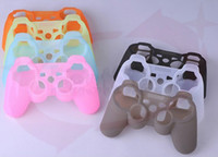 Wholesale 1pcs retail low price colors Protective Silicone Soft Skin Case Cover for Sony Playstation PS3 Controller