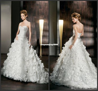 Empire Reference Images Sweetheart Wholesale - 2014 Empire Wedding Dresses Demetrios Sweetheart Pleats Beads Handmade Flower Chapel Train Ball Gown Bridal Dress Backless Tulle
