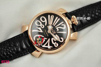 Wholesale Famous brand GaGa MILANO ITALY Lady Luxury Watches Women Quartz Sport Gold case black leather belt Fashion Color womens antique Wrist watch