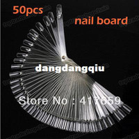 Wholesale New50pcs Pack False Nail Art Tips Stick Polish Display Foldable Practice Fan Board Clear