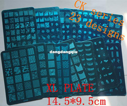 Wholesale-Konad Stamping Plates Large Stamp Image French & Full Nail Art Stencil Print Metal Template BIG Designs #214