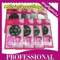 UV Gel Nail Art Set Yes Template Wholesale-Freeshipping-(12SET LOT) Nail Art Stamping Set Stamping Nail Art Kit Nail Stamps + Scrapers+Image Plate Wholesales PP123