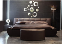 Decal PVC Design Free shipping acrylic wall mirror sticker , creative round and round circle 3D mirror wall clock sticker