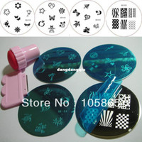 "UV Gel Nail Art Set Yes Template Wholesale-""4pcs Nail Stamping Plate + 1set Stamp & Scraper "" SALON EXPRESS NAIL ART STAMPING KIT Round Image Plate Print Template Set NEW"