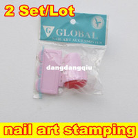 UV Gel Nail Art Set Yes Template Wholesale-[NT1329] 2 Set Lot 2 In 1 DIY Nail Stamper Set Stamping Nail Art Kit Nail Stamp + Scraper Knife For Lmage Paint Plate Design