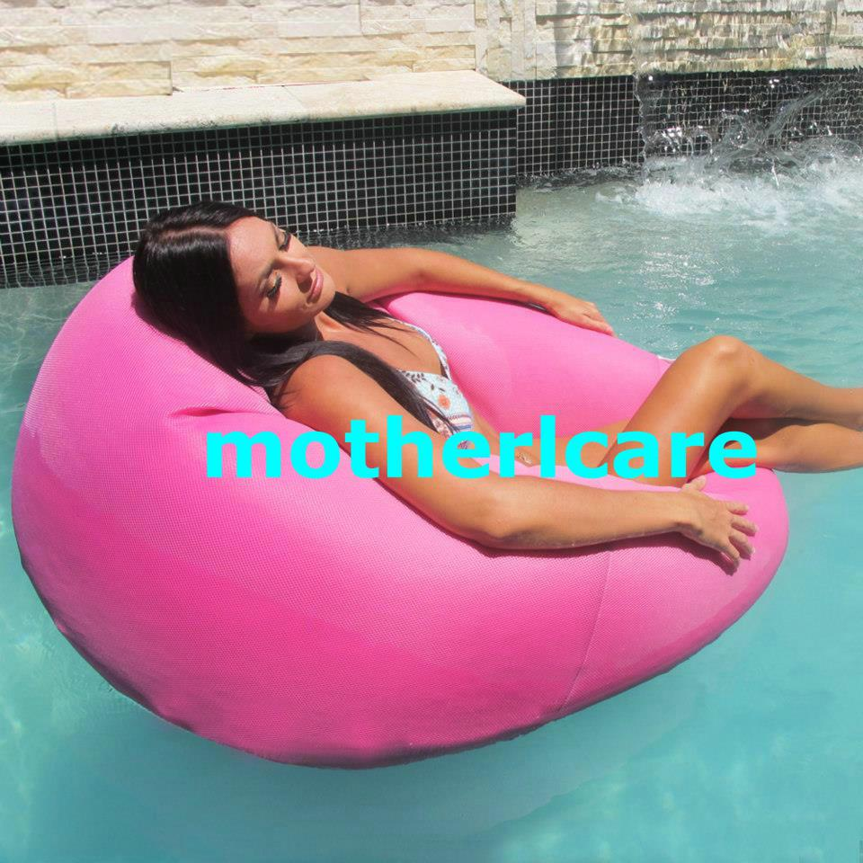 best pink floating bean bag chair no air pump needed cover only floating pool lounger durable. Black Bedroom Furniture Sets. Home Design Ideas