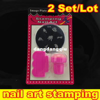 UV Gel Nail Art Set Yes Template Wholesale-[NT011R] 2Set Lot Stamping Nail Art Kit Assorted Plates Stamp Scrapers DIY Image Plate Mix Template Stainless Steel