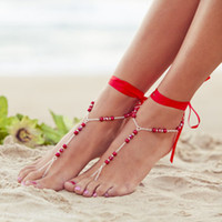 Wholesale barefoot sandals sandbeach stretch anklet chain with toe ring cheap glass barefoot sandal pearls beachwear chain body jewelry B005