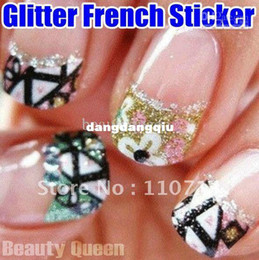 Wholesale New Arrival Over style Korea Design D Glitter Nail Art French Sticker Tips Decal Decoration HQ