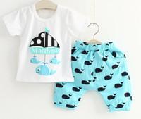 boys suits - Children s summer new boys suits cotton baby whale set